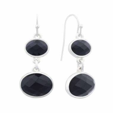 jcpenney.com | Liz Claiborne® Black Acrylic Double Drop Earrings