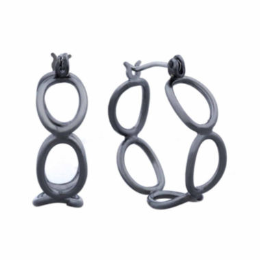 jcpenney.com | Liz Claiborne® Hypoallergenic Hematite Open Oval Hoop Earrings