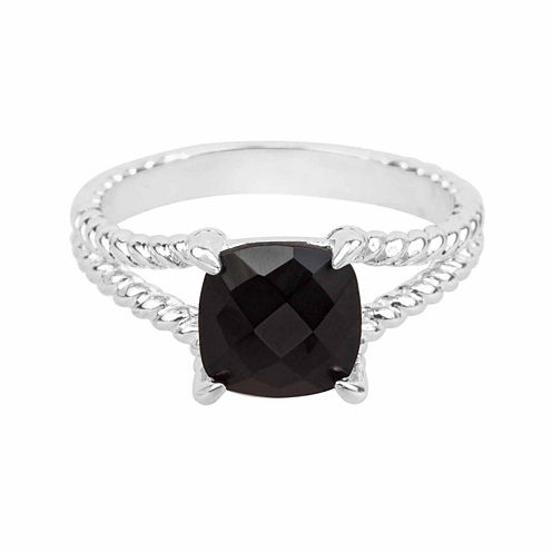 Black Onyx Sterling Silver Cushion Ring