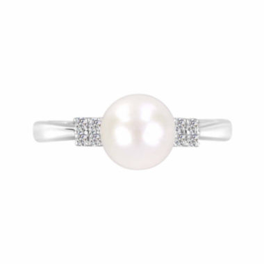 jcpenney.com |  Cultured Freshwater Pearl And Lab-Created White Sapphire Sterling Silver Ring