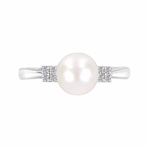 Cultured Freshwater Pearl And Lab-Created White Sapphire Sterling Silver Ring