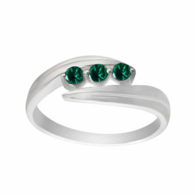 jcpenney.com |  Lab-Created Emerald Sterling Silver Three Stone Ring