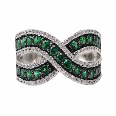 jcpenney.com |  Lab-Created Emerald And Lab-Created White Sapphire Sterling Silver Ring