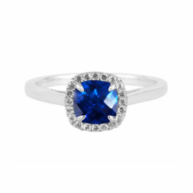 jcpenney.com |  Lab-Created Blue Sapphire Sterling Silver Cushion Halo Ring