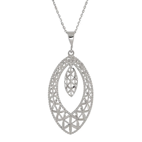 10K White Gold Double Marquis Pendant Necklace