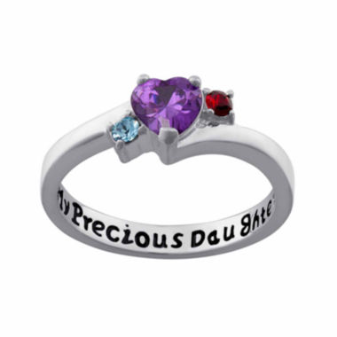 "jcpenney.com | Personalized Sterling Silver ""My Precious Daughter"" Birthstone 3-Stone Ring"