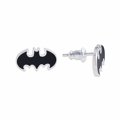DC Comics® Batman Brass Black Enamel Stud Earrings