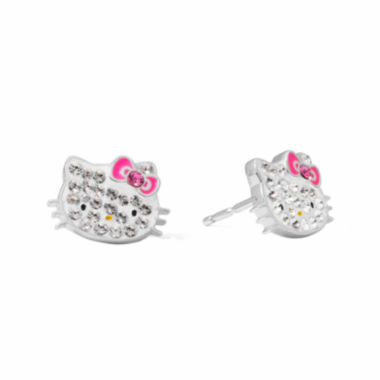 jcpenney.com | Hello Kitty® Sterling Silver Crystal Stud Earrings