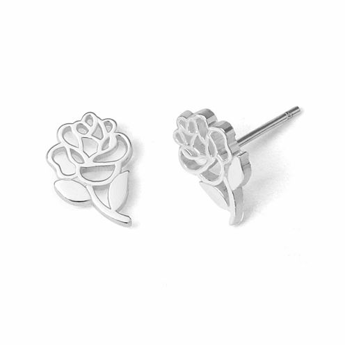 Disney Beauty And The Beast Sterling Silver Rose Stud Earrings