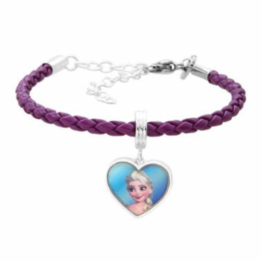 jcpenney.com | Disney Elsa And Anna Brass Heart Charm Pleather Dangle Bracelet