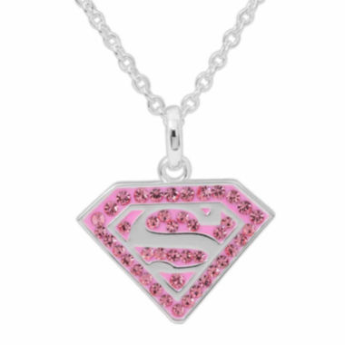 jcpenney.com | DC Comics® Superman Brass Pink Crystal Pendant Necklace