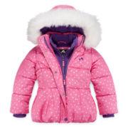 Vertical 9 Heart-Print Polar-Fleece Vestee Puffer Coat - Preschool Girls 4-6x