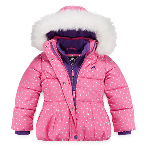 Vertical 9 Heart-Print Polar-Fleece Vestee Puffer Coat - Preschool Girls 4-6x
