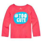 Okie Dokie® Long-Sleeve Appliqué Tee - Toddler Girls 2t-5t