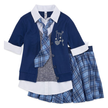 jcpenney.com | Beautees Top, Tie and Skirt/Shorts Set - Girls 7-16
