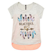 Insta Girl Short-Sleeve High-Low Graphic Top with Chiffon Back - Girls 7-16