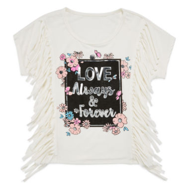 jcpenney.com | Insta Girl Short-Sleeve Graphic Top with Fringe - Girls 7-16