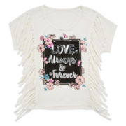 Insta Girl Short-Sleeve Graphic Top with Fringe - Girls 7-16