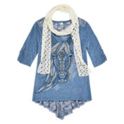 Knit Works® 3/4-Sleeve High-Low Graphic Top with Scarf - Girls 7-16