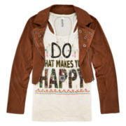 Beautees Faux Suede Moto Jacket with Graphic Tank and Necklace - Girls 7-16