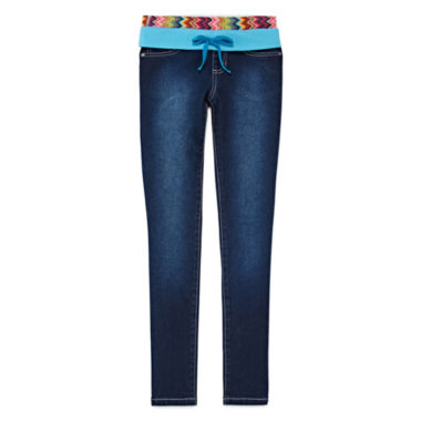 jcpenney.com | Squeeze Chevron and Turquoise Pull-On Jeggings - Girls 7-14