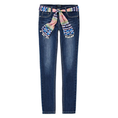 jcpenney.com | Squeeze 3-in-1 Sash Belt Skinny Jeans - Girls 7-14