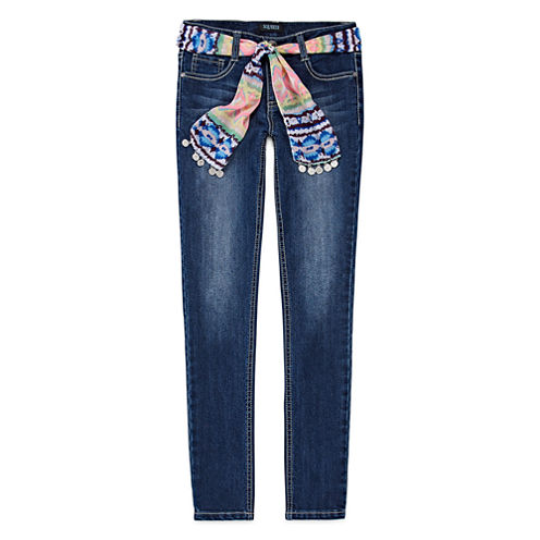 Squeeze 3-in-1 Sash Belt Skinny Jeans - Girls 7-14