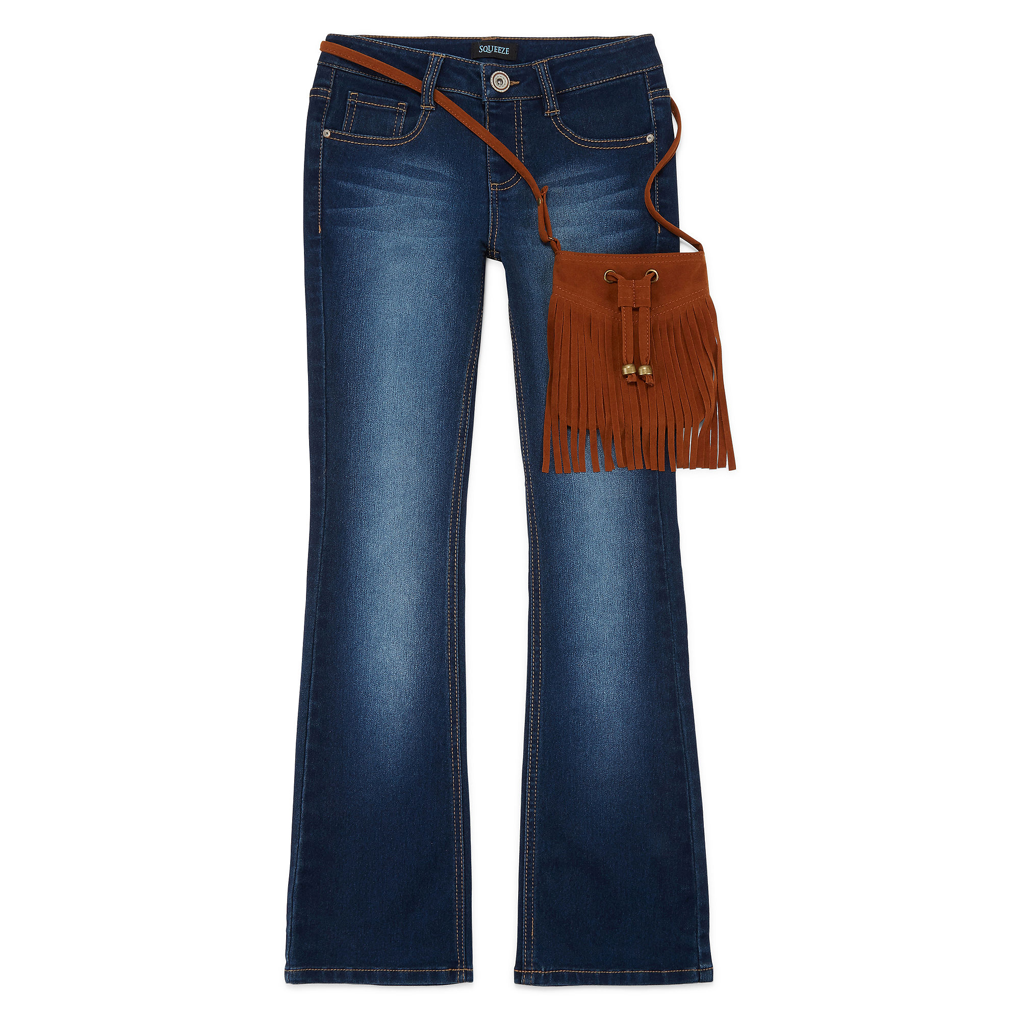Squeeze Bootcut Jeans and Faux-Suede Fringe Crossbody Bag Set - Girls 7-14