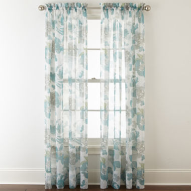 jcpenney.com | Liz Claiborne® Lisette Floral Rod-Pocket Sheer Curtain Panel