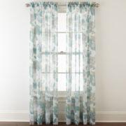 Liz Claiborne® Listette Floral Rod-Pocket Sheer Curtain Panel