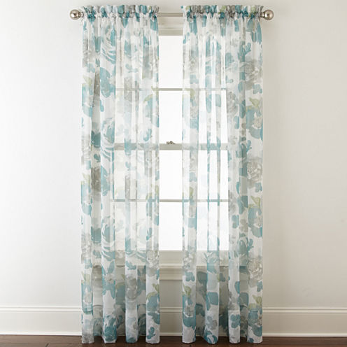 Liz Claiborne® Lisette Floral Rod-Pocket Sheer Curtain Panel
