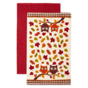 JCPenney Home™ Fall Owls Set of 2 Kitchen Towels