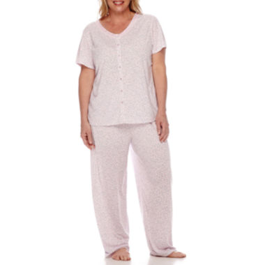 jcpenney.com | Earth Angels® Button-Front Pajama Pants Set - Plus