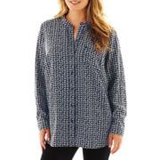 Liz Claiborne Long-Sleeve Mandarin Collar Shirt - Plus