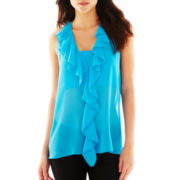 Bisou Bisou® Surplice-Back Ruffled Front Top