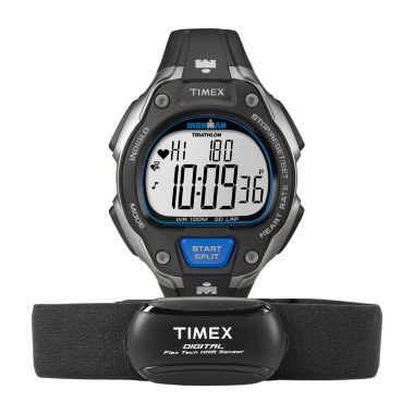jcpenney.com | Timex® Ironman Road Trainer Heart Rate Monitor Black Dial Chronograph Watch T5K718F5