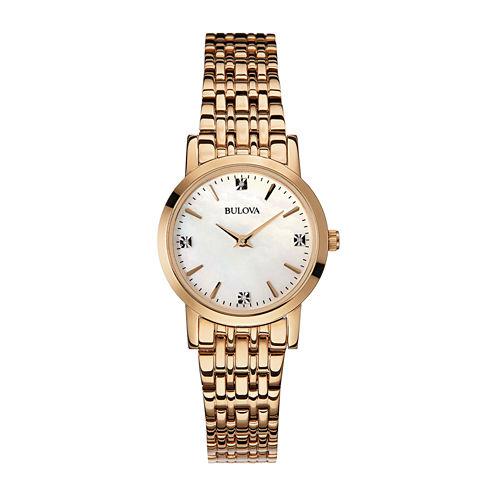 Bulova® Womens Diamond-Accent Rose-Tone Stainless Steel Bracelet Watch 97P106