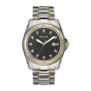 Bulova® Mens Diamond-Accent Two-Tone Stainless Steel Watch
