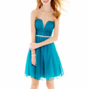 City Triangles® Sleeveless Lace and Tulle Dress