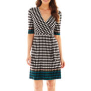 Studio 1® 3/4-Sleeve Houndstooth Wrap Dress