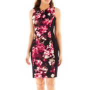 London Style Collection Pleat-Neck Floral Print Sheath Dress