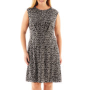 London Style Collection Cap-Sleeve Fit-and-Flare Dress - Plus