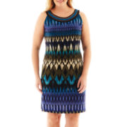 Studio 1® Sleeveless Ribbon-Neck Print Dress - Plus