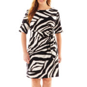 MSK 3/4-Sleeve Side-Tie Dress - Plus
