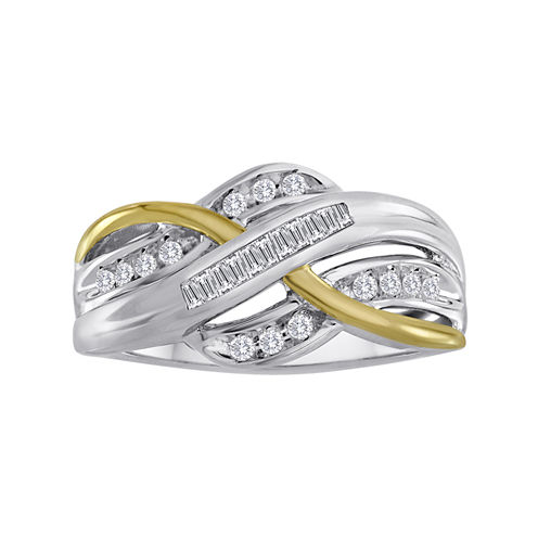 1/4 CT. T.W. Diamond Two-Tone Crossover Ring