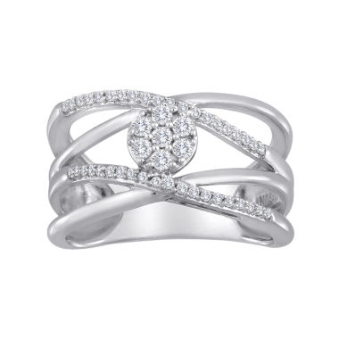 jcpenney.com | diamond blossom 1/4 CT. T.W. Diamond Cluster Orbit Sterling Silver Ring