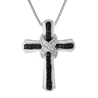 jcpenney.com | 1/10 CT. T.W. White and Color-Enhanced Black Diamond Cross Pendant Necklace
