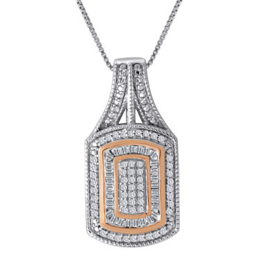 jcpenney.com | 1/3 CT. T.W. Diamond Two-Tone Frame Pendant Necklace
