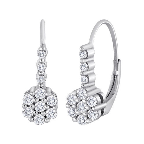 diamond blossom 1/2 CT. T.W. Diamond Cluster Sterling Silver Earrings