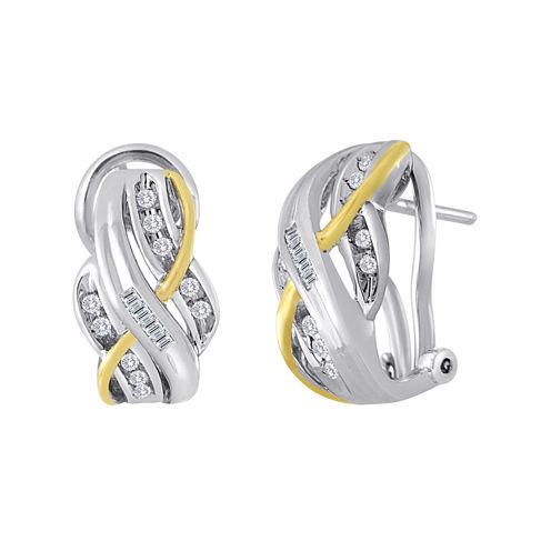 1/4 CT. T.W. Diamond Two-Tone Crossover Earrings